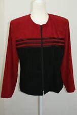 Amanda Smith Women's Size 14 Black Pants Red Color Blocked Embellished Jacket