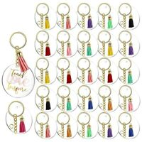 120Pcs Acrylic Keychain Blanks Tassels Clear Circle Blanks with Hole Key Ri O3L7