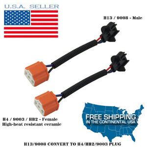 2X H4 To H13 Adapter Headlight Conversion Cable for For Jeep Wrangler Motorcycle