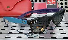 New Ray Ban RB2132 6183/71 New Wayfarer Sunglasses Matte Black-Blue-Purple/Gray