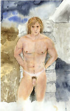Painting watercolor NUDE male STORMY gay 1/14/50 Esteban FREE SHIP