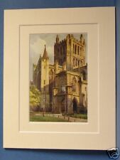 HEREFORD CATHEDRAL VINTAGE 20s DOUBLE MOUNTED PRINT OLD