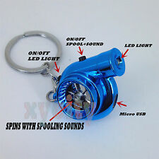 Blue CHROME Rechargeable turbo keyring keychain with LED light and BOV sound