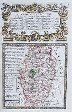 OLD ANTIQUE MAP NOTTINGHAMSHIRE by OWEN & BOWEN c1740's 18th C ENGRAVING