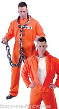 Mens Death Row Prisoner Con Orange Jumpsuit Workman Fancy Dress Costume Outfit