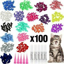 New listing 100pcs Soft Pet Cat Nail Caps Colorful Claws Nail Covers with Glue & Applicators
