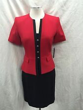 TAHARI SKIRT SUIT/RED/BLACK/SIZE   2/LINED/RETAIL$240/LORD&TAYLOR SUIT