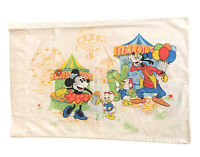 Vintage Disney Mickey Mouse Minnie Donald Pillowcase Carnival Fair Theme No Iron
