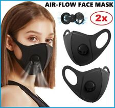 2x Air Flow Face Mask Surgical Disposable Reusable Washable Black Face Masks UK
