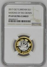 2017 Great Britain Silver Proof Gilt £1 Nations of the Crown NGC PF69UC