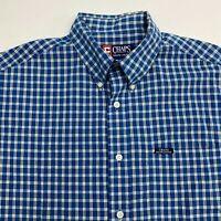 Chaps Ralph Lauren Button Up Shirt Men's Medium Short Sleeve Blue Plaid Casual