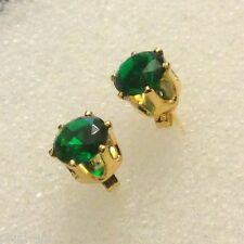 6-pin green cz emerald 18k gold filled 6.5mm round stud earrings BOXED Plum UK
