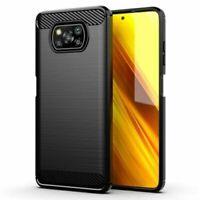 "Case Cover Gel TPU Silicone Black Carbon Fiber For Xiaomi Poco X3 NFC (4G) 6.67"""