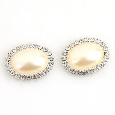 10pcs New Silver Plated Oval Pearl Rhinestone Embellishment Scrapbooking 24mm BS