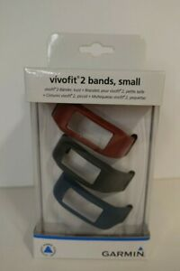 New Garmin Vivofit 2 Replacement Bands 3 Pack - Size Small Burgundy Slate Navy
