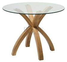 Phoenix Dining Table Curvey Solid Oak Wooden Base with Glass Top  Dining Room