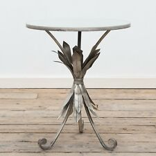 Gin Shu Pineapple Leaf Silver Metal Round Coffee Console Side End Table