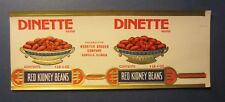 Old 1920's DINETTE Red Kidney Beans Can LABEL - Webster Grocer - Danville ILL.