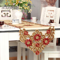 HB351 fabric red lace Embroidery table cloth runner cover coasters napkin flower