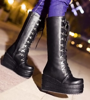 Women High Wedge Heel Platform Casual Punk Gothic Lace Up Sexy Knee High Boots