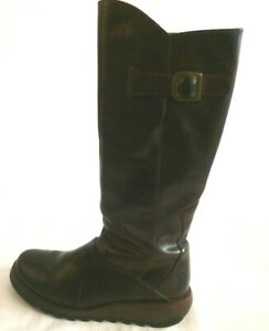 FLY Ladies Brown Boots Size 39 UK 6.5 #G3