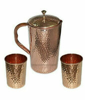 Hammered Copper Water Jug Pitcher Pot Health Benefits With 2 Glass 300ml Each