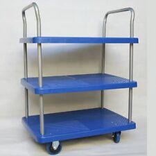 Platform Trolley 3 Tiers Handtruck Pushcart Steel Frame Load 150kg Service Cart