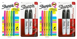 2 Sharpie Highlighter Narrow Chisel Pen & 2 Black Chisel Broad Point Set