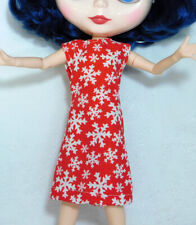 Red Snowflake Mod Dress - Cute Winter Blythe Outfit - Also Fits Petite Barbie