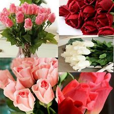 10 Heads Latex Real Touch Rose 7CM Flowers Bouquet wedding Home Decor 8 Colors