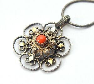 ANTIQUE 925 SILVER EXQUISITE FILIGREE NATURAL RED CORAL PENDANT CHAIN NECKLACE