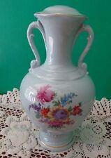 Vtg Vase Blue Ceramic Floral Scalloped Handles