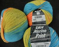 109 Taupe//Violett//Graubraun 11,50€//100g Lana Grossa Lace Merino print 50g Fb