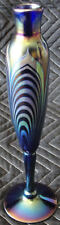 Choice Correia Art Glass Blue Iridescent Pulled Feather Vase Prototype