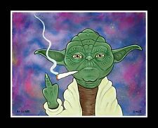"""SMOKIN' YODA"" print RT VEGAS signed original star wars marijuana lowbrow pot"