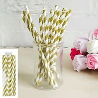 GOLD STRIPES PAPER STRAWS PACK OF 20 BIRTHDAY PARTY SUPPLIES