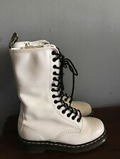 Women's DR MARTEN White Tall Ankle Boots Zip & Lace. Sz 7 USA Worn Once