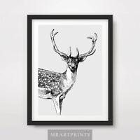 STAG DEER ART PRINT POSTER Animals Black White Drawing Decor Illustration