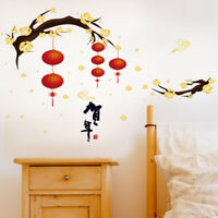 Plum Lantern New Year Room Home Decor Removable Wall Stickers Decals Decoration