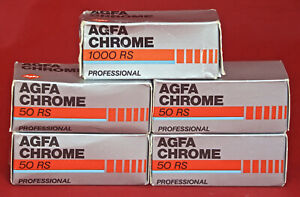 120: AGFACHROME  50  x4, AGFACHROME 1000  x1. Outdated 1990. Original Packaging.