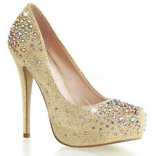 Nude Gold Platform Rhinestone Pageant Bridesmaid Bridal Party Heels Shoes 8 9 10