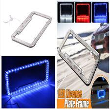 New Bling Acrylic US Car Rear License Plate Cover Frame Decor Blue 54 LED Light