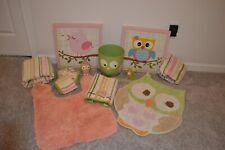 Huge lot of Girl Owl Bathroom Set. Pink, green, orange, rugs, shower curtain, et