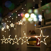 138 LED Fairy Light 12 Stars Curtain Strings Lights for Wedding Christmas Decor