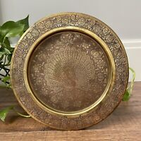 Vintage Brass Tray Serving Platter Decorative Floral Peacock Bohemian Decor