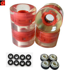 A Set of 4 Pro Skateboard Wheels 60mm 78A Led Red +Abec 11 + Spacers Lighting