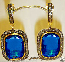 Sapphire Studded Silver Earring Jewelry Artdeco Estate 3.17cts Rose Cut Diamond