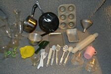 Vintage 29  pc Child's Toy Play Aluminum Baking Cooking Pans Dishes Goblets+