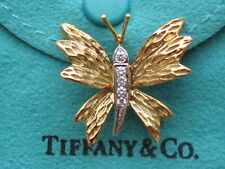TIFFANY & Co. 18K. YELLOW GOLD & 950 PLATINUM BUTTERFLY DIAMOND BROOCH, VINTAGE