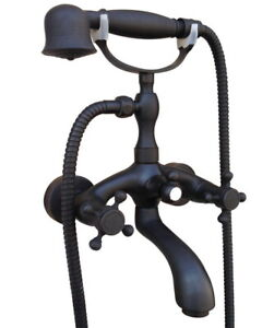 Oil Rubbed Bronze Clawfoot Bath Tub Faucet with Hand Shower Mixer Tap Wall Mount